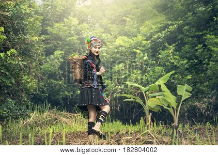 Karens girl with traditional clothes in countryside of Thailand