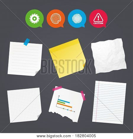 Business paper banners with notes. Wood and saw circular wheel icons. Attention caution symbol. Sawmill or woodworking factory signs. Sticky colorful tape. Speech bubbles with icons. Vector