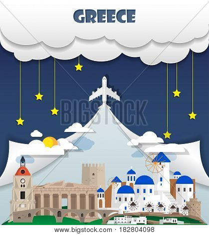 Greece Travel Background Landmark Global Travel And Journey Infographic Vector Design Template. Illu