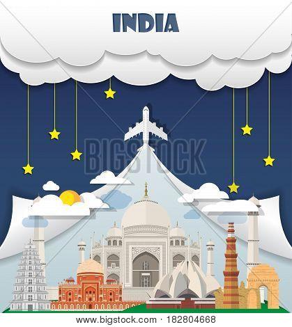 India Travel Background Landmark Global Travel And Journey Infographic Vector Design Template. Illus