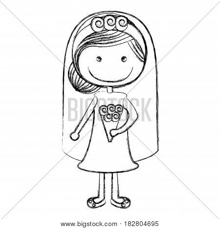 blurred silhouette caricature woman in wedding dress with collected hairstyle vector illustration