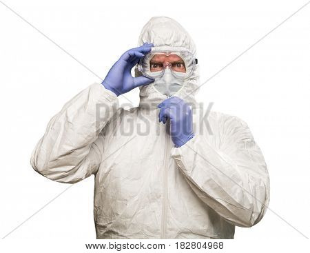 Man With Intense Expression Wearing HAZMAT Protective Clothing Isolated On A White Background.