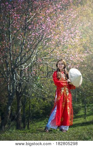 Portrait of Vietnam girls with Ao Dai Vietnam traditional dress Ao Dai is famous traditional costume for woman in Vietnam.