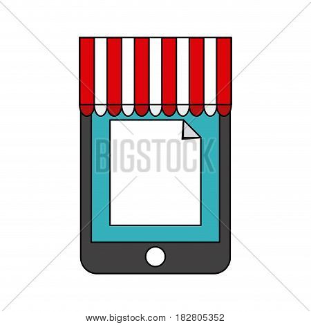 cellphone with online shopping or ecommerce icon image vector illustration design