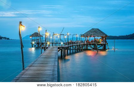 Paradise. Vacations And Tourism Concept. Tropical Resort. Jetty on Koh Mak Island TradThailand