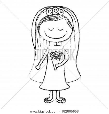 blurred silhouette caricature woman in wedding dress with short hair vector illustration