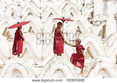 Burmese buddhist novice monks in Myanmar, Asain