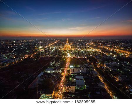 Golden pagoda Phra Pathom Chedi sunset of Nakhon Pathom province Asia Thailand
