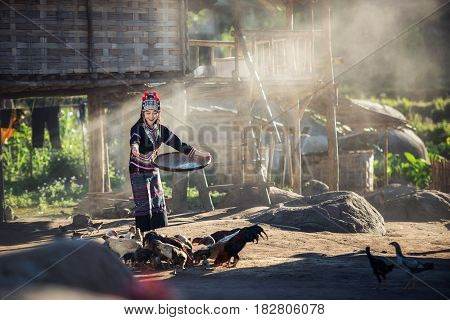 Asian girls feeding chickens at Laos countryside