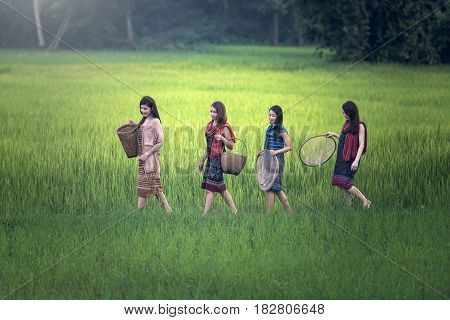 Beautiful Thai local happy women working outdoor Thailand