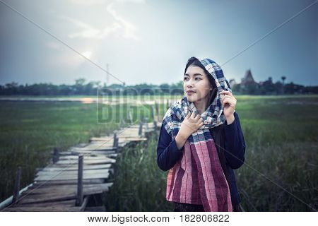 Asian woman farmer at countryside of Thailand
