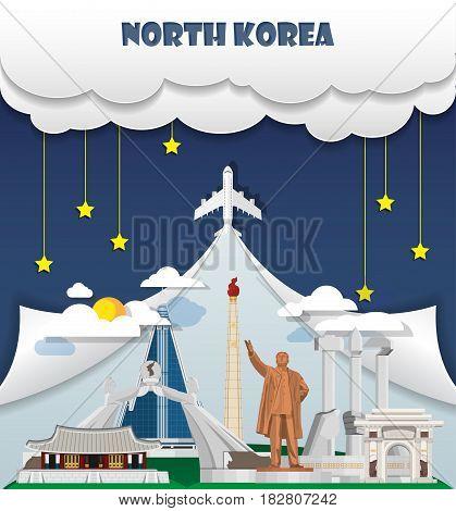 North Korea Travel Background Landmark Global Travel And Journey Infographic Vector Design Template.