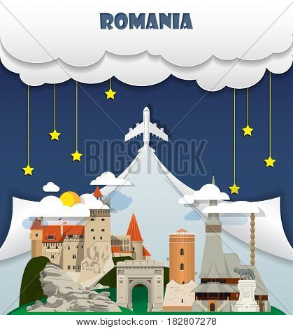 Romania Travel Background Landmark Global Travel And Journey Infographic Vector Design Template. Ill