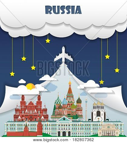 Russia Travel Background Landmark Global Travel And Journey Infographic Vector Design Template. Illu
