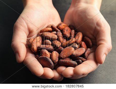 Female hands holding aromatic cocoa beans on gray background