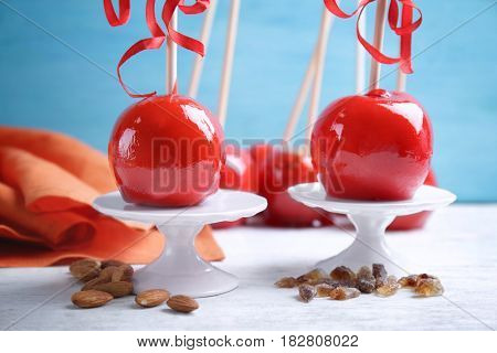 Delicious toffee apples on stands