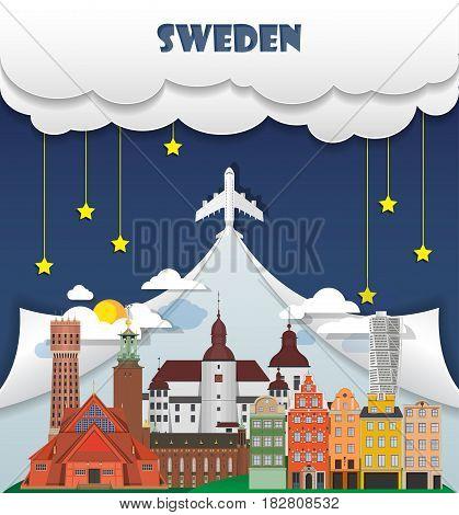 Sweden Travel Background Landmark Global Travel And Journey Infographic Vector Design Template. Illu