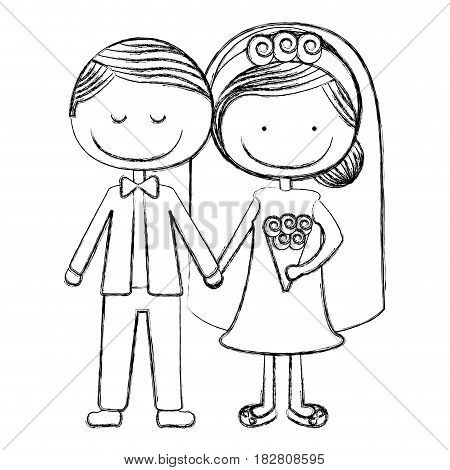 blurred silhouette caricature groom with eyes closed and bride with collected hairstyle vector illustration