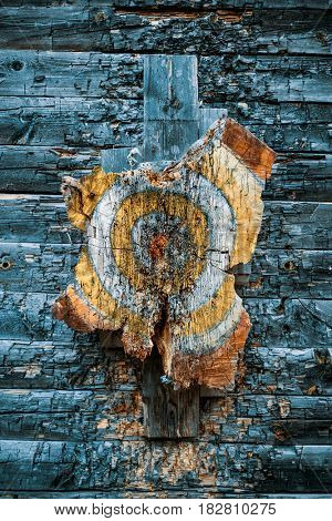 Old wooden target for throwing ax