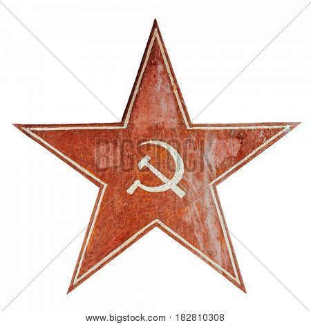 Red USSR communism symbol with hammer and sickle. Aged metal plate isolated on white.