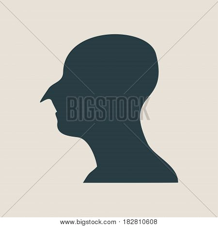 Man avatar profile view. Isolated male face silhouette or icon . Vector illustration. Big nose