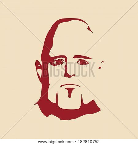 Brutal bald man with a beard. Man avatar. Front view. Isolated male face silhouette or icon. Vector illustration.