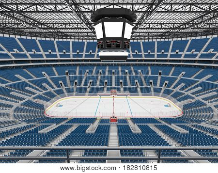 Beautiful Sports Arena For Ice Hockey With Blue Seats  Vip Boxes And Floodlights For Fifty Thousand