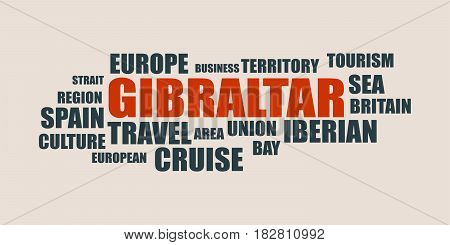 Gibraltar relative tags cloud. Vector brochure or web banner design template.
