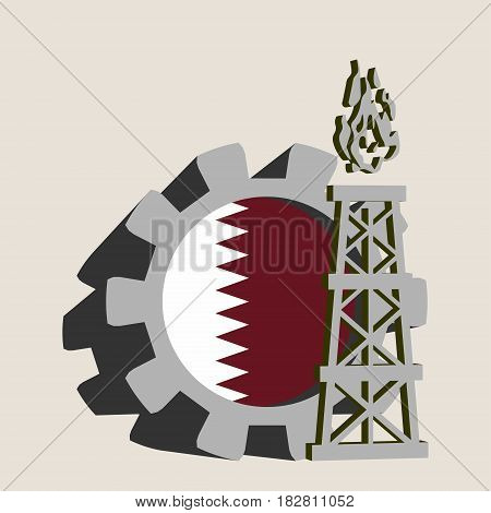 Gear with gas rig simple icon, textured by Qatar flag. Heavy and mining industry concept. 3D vector icons