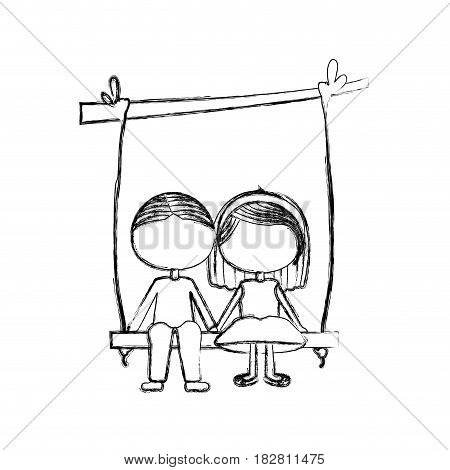 blurred silhouette faceless caricature guy in formal suit and girl with short hair sit in swing hanging from a branch vector illustration