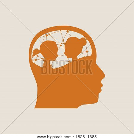 The relationships between men and women. Silhouette of the young posing lady inside the head of a man. Love triangle