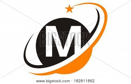 This image describe about Star Swoosh Letter M