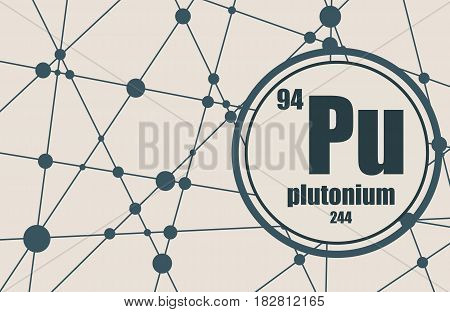 Plutonium chemical element. Sign with atomic number and atomic weight. Chemical element of periodic table. Molecule And Communication Background. Connected lines with dots.