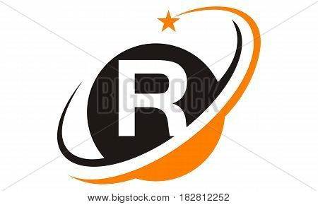 This image describe about Star Swoosh Letter R