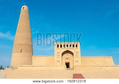 Xinjiang, China - May 03 2015: Emin Minaret(sugongta). A Famous Historic Site In Turpan, Xinjiang, C