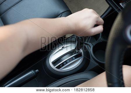 Automatic gear shift interior modern car right drive
