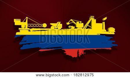 Energy and Power icons set and grunge brush stroke. Coal mining relative image. 3D rendering. Flag of the Colombia