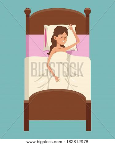cartoon woman shirtless smile sleeping in bed vector illustration eps 10
