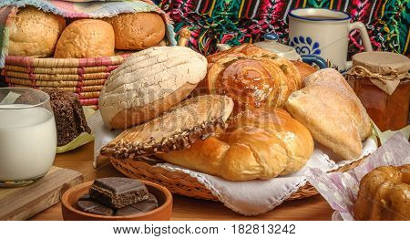 Sweet bread assorted traditional Mexican bakery table