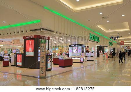 HANOI VIETNAM - NOVEMBER 24, 2016: Unidentified people visit Vincom Mega mall. Vincom Mega mall is one of the most popular shopping mall in Vietnam massive underground shopping mall.