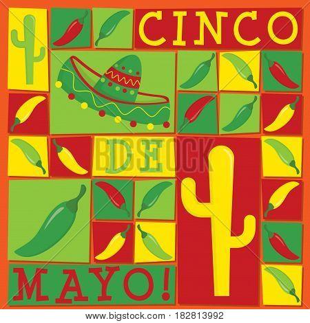 Funky Cinco De Mayo Card In Vector Format.
