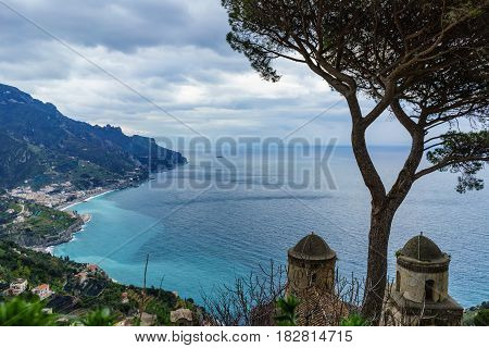 The amazing view from Villa Rufolo Ravello town Amalfi coast in the cloudy day southern Italy