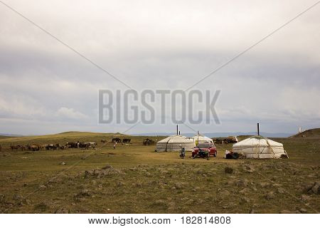 Typical Mongolian nomad family in the northern region