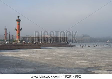 The arrow of the Vasilievsky Island is a foggy March day. Saint-Petersburg, Russia