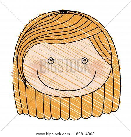color pencil drawing of caricature front face girl with short blond hair vector illustration