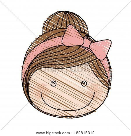 color pencil drawing of front face girl with collected hair and pink bow lace vector illustration