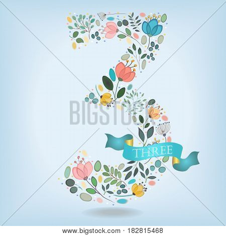 Floral Number Three. Watercolor graceful flowers plants and blurs. Blue ribbon with golden back and white text. Vector Illustration