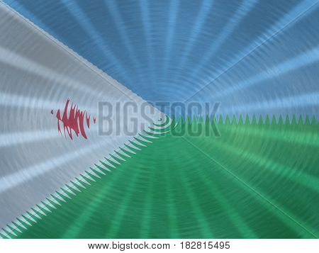 Djibouti flag background with ripples and rays illustration