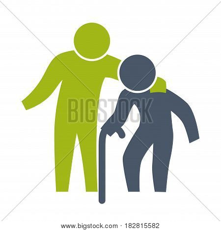 Man helping elder icon vector illustration graphic design
