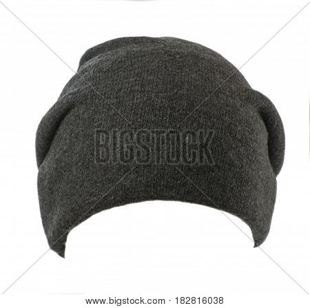 Hat Isolated On White Background .knitted Hat.gray Hat